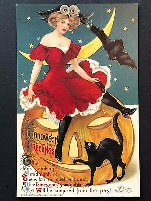 repro vintage postcard HALLOWEEN WINSCH BEAUTY cat bat Pleiades Press p167 NOS