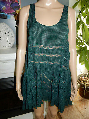1ed28008f07f Intimately Free People Voile   Lace Trapeze Slip Dress Emerald Green Combo  SP