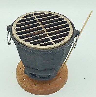 Vintage Korean Konro Cast Iron Mini Table Top Personal Charcoal Hibachi Grill