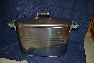 Antique STAINLESS silver Wash Basin Farm House Boiler