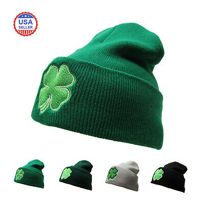 10588464 ST. PATRICKS DAY 4 Leaf Clover Shamrock Knit Beanie Hat - $7.99 ...