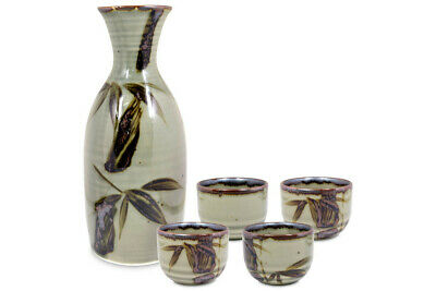 Mino Ware Traditional Japanese Sake Set Bottle and 4 Cups Green Mashikodake
