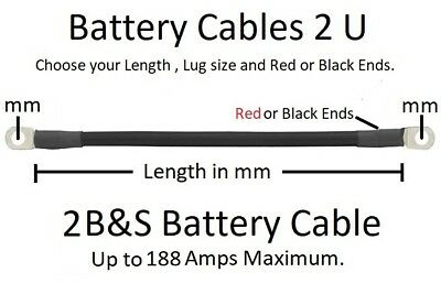 Ready Made 2 B&S Battery Cable Lead -100 to 2000 mm-Order to your Specifications