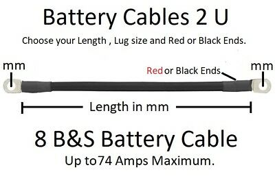 Ready Made 8 B&S Battery Cable Lead -100 to 2000 mm- Order length, Lug Size, + -