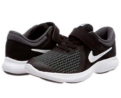 f5a962cc18b NEW NIKE REVOLUTION 4 PreSchool Boys Shoes Black White Hook Loop Sz ...