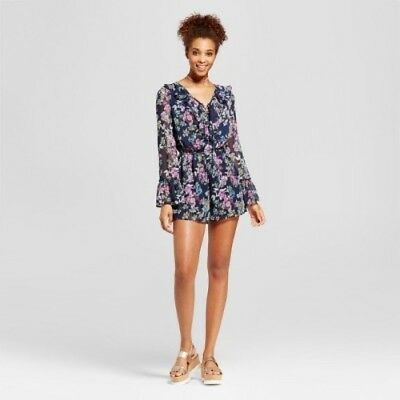 a75995bfe97 NWT Women s Juniors Xhilaration Lace-Up Long Sleeve Romper Navy Floral Sz XS
