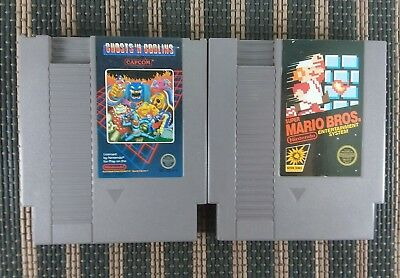 2 Game Lot - Ghosts 'N Goblins, Super Mario Bros., Nintendo NES, Authentic