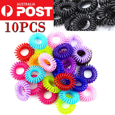 10PC CLEAR Rubber Hair Tie Band Rope Elastic Spiral Bungee Plastic Ponytail Girl