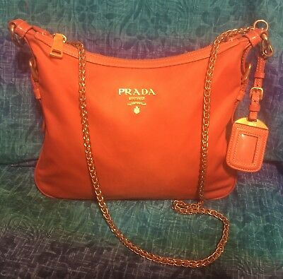 076506774e1b Authentic Orange Prada Shoulder Bag Nylon Free Shipping Replacement Strap  As Is