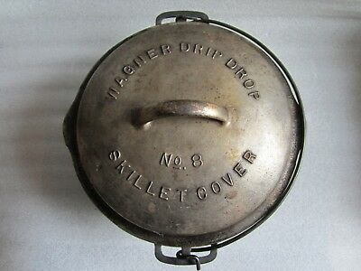 Original Antique Wagner Cast Iron Dutch Oven w/ RARE Nickel Plated #8 Lid