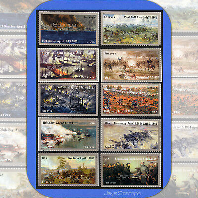 2011-15 CIVIL WAR SESQUICENTENNIAL Complete Set of 10  Forever® Stamps 4522-4981