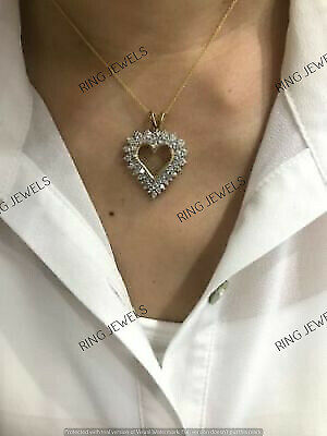 "1.80 Ct Diamond Double Heart Shape Love Pendant 18"" Necklace 14K Gold Over"