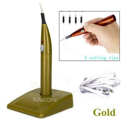 Dental Gutta Percha Points Cutter Endo Cordless with 4 Tips Gold Color US/EU Set