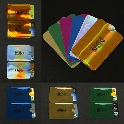 10PC Credit Card Protector Secure Sleeve RFID Blocking ID Holder Foil Shield New