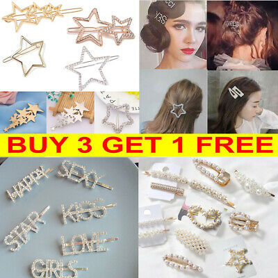 Women Girls Pearl Barrette Hair Clips Crystal Letters Hairpin Slide Hair Grips