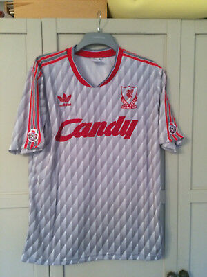 sports shoes 27667 30af9 LIVERPOOL RETRO GREY Candy 1989 1990 1991 Away Shirt NEW VINTAGE SIZE SMALL  NEW