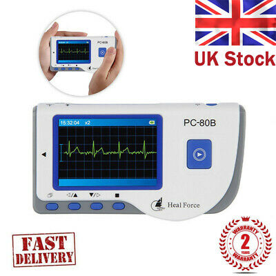 Handheld Portable ECG & EKG Monitor Color Patient Monitor + Cable & Pads 80B #UK
