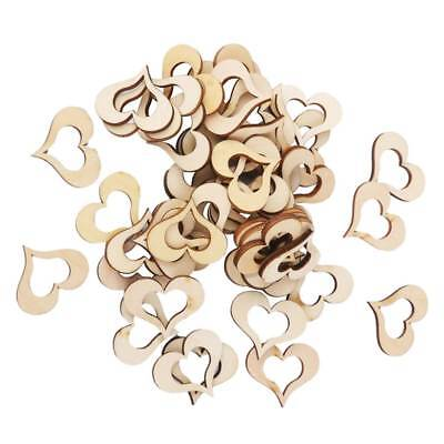 100Pcs Blank Hollow Wooden Heart Embellishments Crafts Blank Wooden Heart Slices