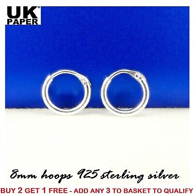 New 925 Sterling Silver 8mm Small Tiny Hoop Sleeper Earrings Stud Nose Ring Pair