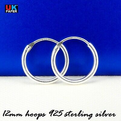 97611d0b3 Solid 925 Sterling Silver 12mm Small Tiny Hinged Hoop Sleeper Earrings Ring  Pair
