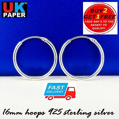 Solid 925 Sterling Silver 16mm Small Hoop Sleeper Earrings Stud Nose Rings Pairs