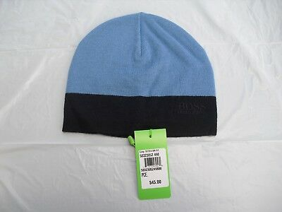fcef8ff07e6ce Hugo Boss Men s Logo Beanie Acrylic Wool Hat Blue Navy One Size New with  tags