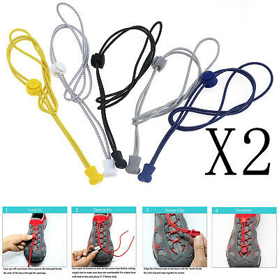 Quick&Easy Runners Golfers Jogging 5 Pair Elastic No Tie Lock Shoe Laces Colour