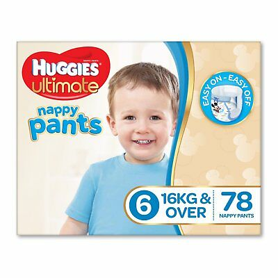 Huggies Ultimate Nappy Pants Nappies Boys Size 6 Junior 16kg+ 78 Count