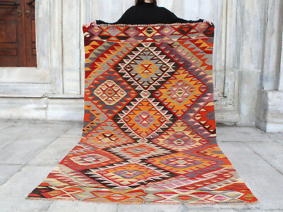"Handmade Vintage Decorative Ethnic Anatolian Turkish Kilim Area Rug 7'9""x4'4"""