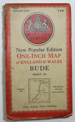1946 Vintage OS Ordnance Survey one-inch New Popular Edition CLOTH map 174 Bude
