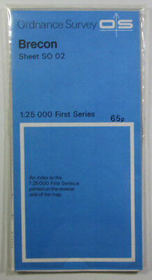 1976 old vintage OS Ordnance Survey 1:25000 First Series map SO 02 Brecon