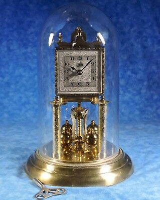 Vtg SCHATZ Square Face Anniversary Glass Dome Key Wind Clock- Serviced, Works