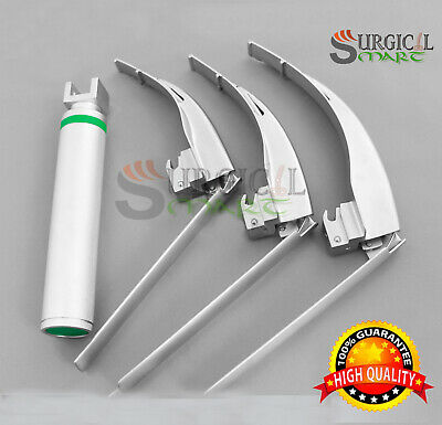 McCoy Flexi-Tip Fiberoptic LED Laryngoscope Set Blade #2 #3 #4 Medium Handle
