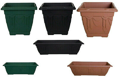 Plastic Square Rectangular Venetian Plant Flower Pot Pots Planter Container