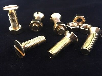 Solid Brass Slotted Countersunk Head Machine Screws and Nuts M3 M4 M5 M6 M8