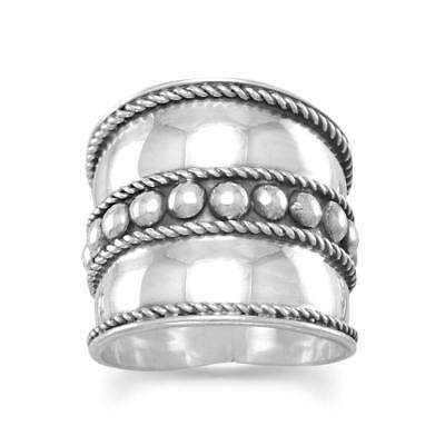Bali  Bead Rope Edge Band Ring Extra Wide Antiqued and Polished Sterling Silver