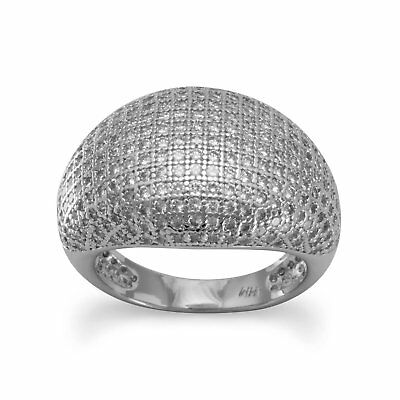 Micro Pave Ring Domed Cubic Zirconia Rhodium on Sterling Silver Nontarnish, 7