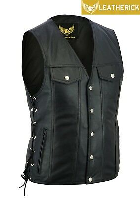 Men Side Lace Denim Style Motorcycle Biker Premium Leather Waistcoat Vest UK