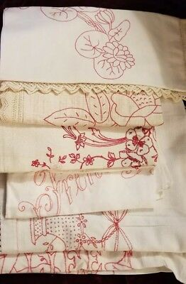 Lot Of Antique Linens Redwork Embroidery 7 Pieces