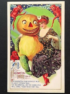 repro vintage postcard HALLOWEEN GOBLINS PICKLE PUMPKIN Pleiades Press p194 NOS