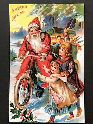 repro vintage postcard CHRISTMAS SANTA CLAUS BICYCLE TOY Pleiades Press p199 NOS