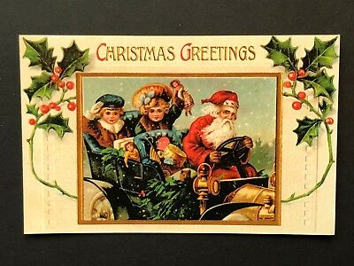 repro vintage postcard CHRISTMAS GREETING SANTA CAR KIDS Pleiades Press p202 NOS