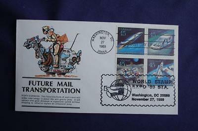 Futuristic Mail Delivery 45c Stamps FDC Panda HP Sc#C122-25 13292 Dual Post WSE