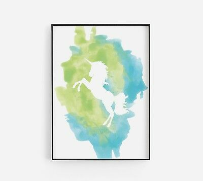 Unicorn Blue Green Watercolour Girl Room Baby Nursery Wall Art Poster Print
