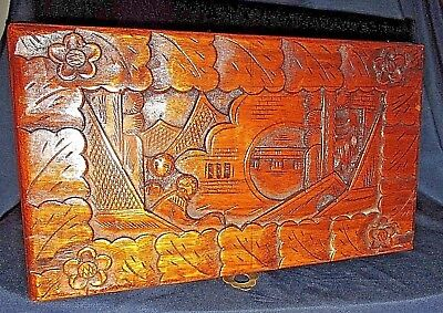 Antique Vintage Chinese Box Chest w/ Working Lock Carved Village View  25CmW