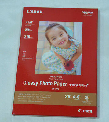 Canon GP-508 Glossy Photo Paper  6x4 10x15cm 210 gsm TOTAL 20 Sheets INKJET NEW