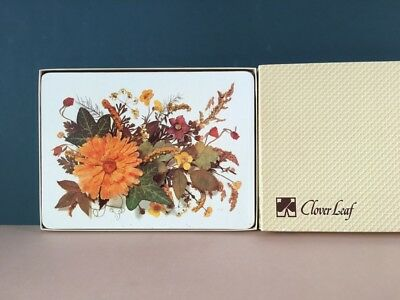 4 Clover Leaf table mats autumnal orange flower floral vintage 70s cork back