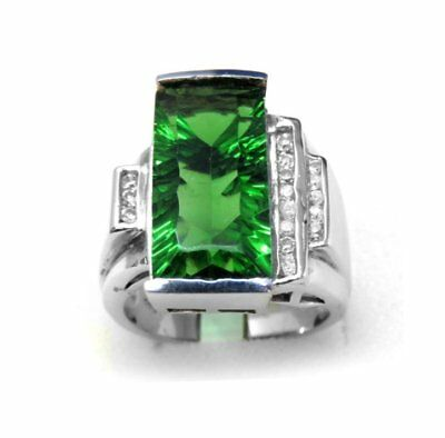 #R3094 12.8ct Forest Green Radiant Millennium Cut Helenite Sterling Silver Ring