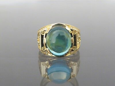 18K Solid Yellow Gold Blue & White Topaz Dragon Men's Ring Size 9.5