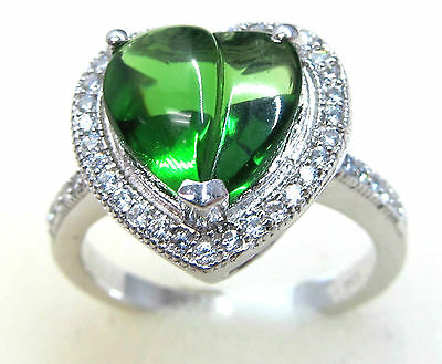 #R4016 2.5ct. Forest Green Helenite Heart Halo Cabochon 925 Sterling Silver Ring